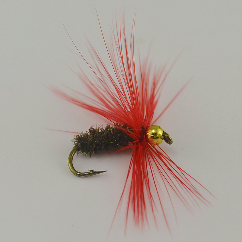 10PCS 10# Red Hackle Golden Bead Head Peacock Nymph Flies Caterpillar Body Trout Fishing Flies(China (Mainland))