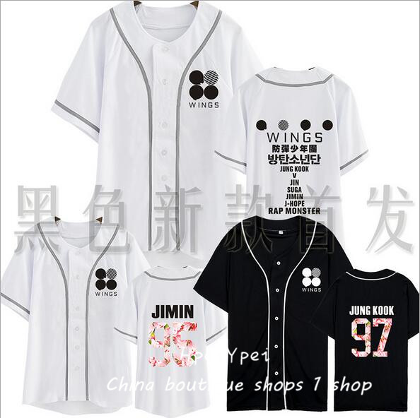 BTS bulletproof youth club regular second album WINGS around who da baseball uniform short-sleeved shirt male and female student(China (Mainland))
