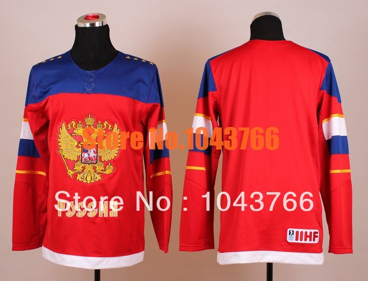 2014 Winter Olympic Sochi Hockey Jersey Red Blue Team Russia Hockey Jersey Stitched Best Quality Russian Olympic Hockey Jersey
