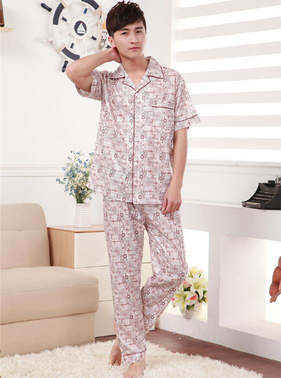 2015 summer men's pajamas cotton Home Furnishing wear short sleeved suit man nightie sleepwear home clothing lounge homewear(China (Mainland))