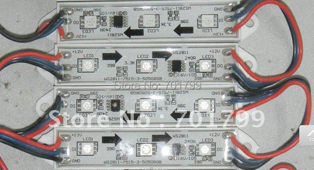 LED digital module,WS2811IC 5050 3LEDS;DC12V input,waterproof,20pcs a string;256 gray scale