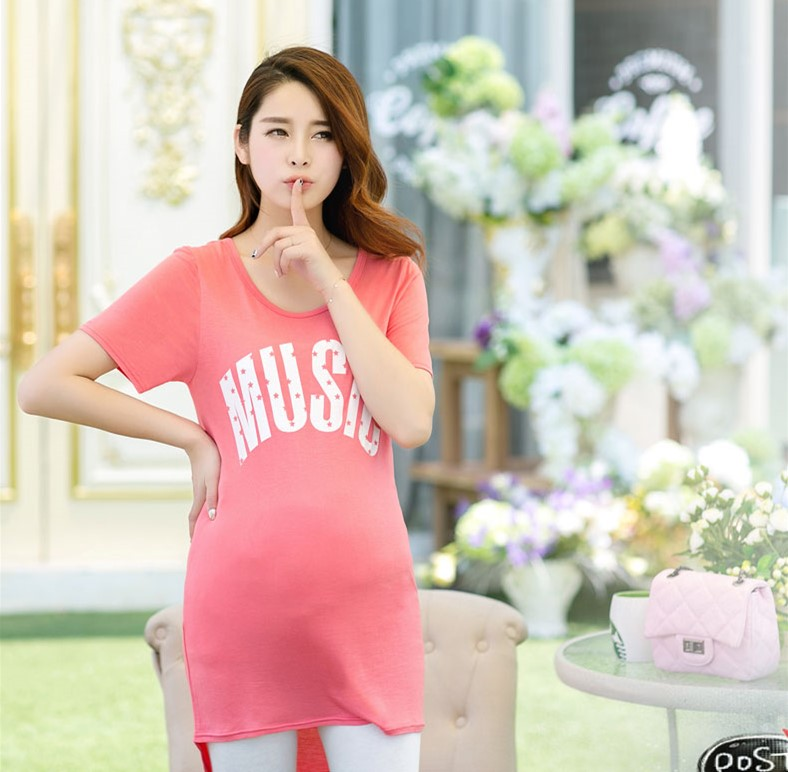 Fashion Summer Style Cotton O neck Short Sleeve font b Maternity b font Clothes letter Tops