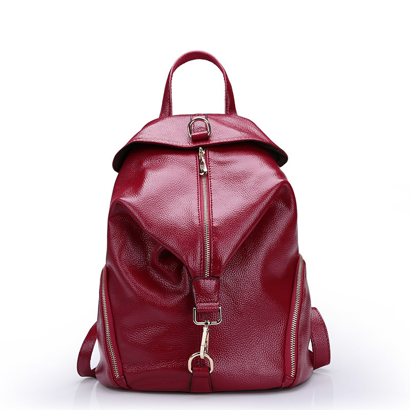 fashion women backpack genuine leather bag casual women's daypacks ladies daily cowhide backpack 100% real leather back pack(China (Mainland))