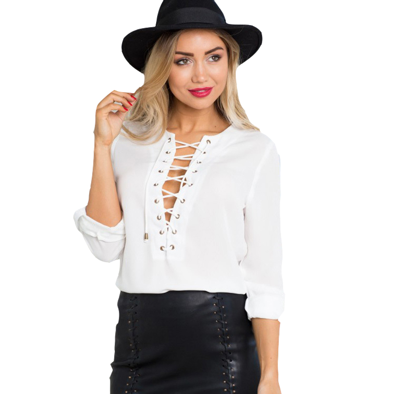 Womens lace up shirts white top chiffon blouses for women for Women s broadcloth shirts