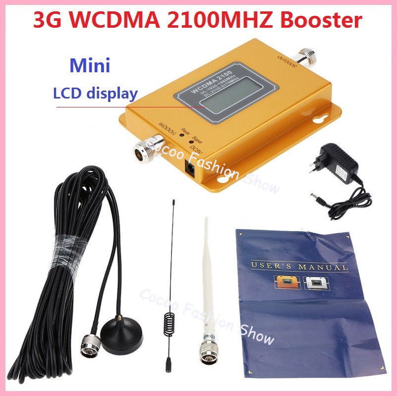 LCD Display !!! New Mini W-CDMA 2100Mhz Signal Booster 3G Repeater WCDMA Signal Amplifier 3G cellular signal booster+ Antennas(China (Mainland))