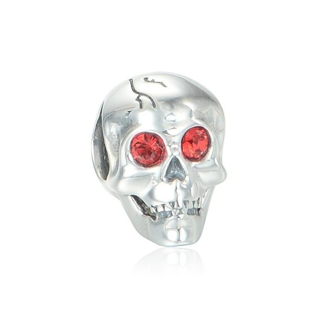 Стерлингового серебра 925 пробы украшения череп из крови бусины DIY хэллоуин стерлингового серебра - серебристо-ювелирные подходит европейским очаровывает браслеты