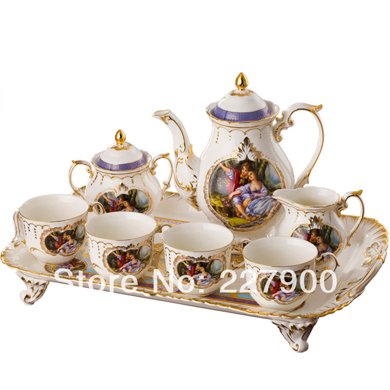 English Royal European Ceramic Forest Lovers Coffee Set Tea Set Tea Service