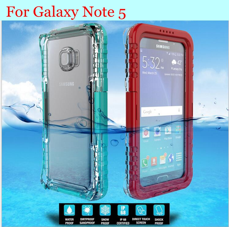 Note5 !! Waterproof Diving Underwater Swimming Back Case for Samsung galaxy Note 5 Protective Clear Cover