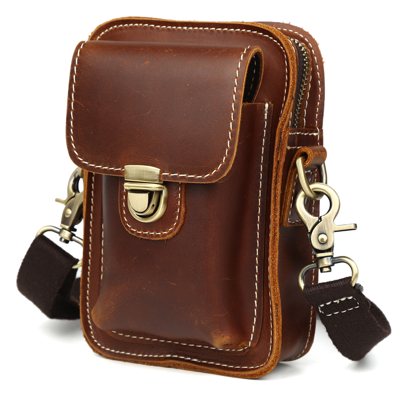 TIDING New Oil Leather Military Waist Pack Small Cell Phone Purse Messenger Bag For Men 3142(China (Mainland))