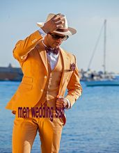 Fashionable Two Button Orange Groom Tuxedos Groomsmen Mens Wedding Suits Formal Dress (Jacket+Pants+Vest+Tie) NO:058