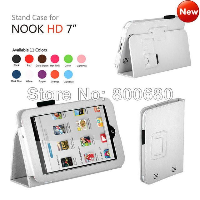 Leather stand Case cover for NOOK HD 7 inch,with sleep/wake up function,DHL Free shipping 200pcs/lot