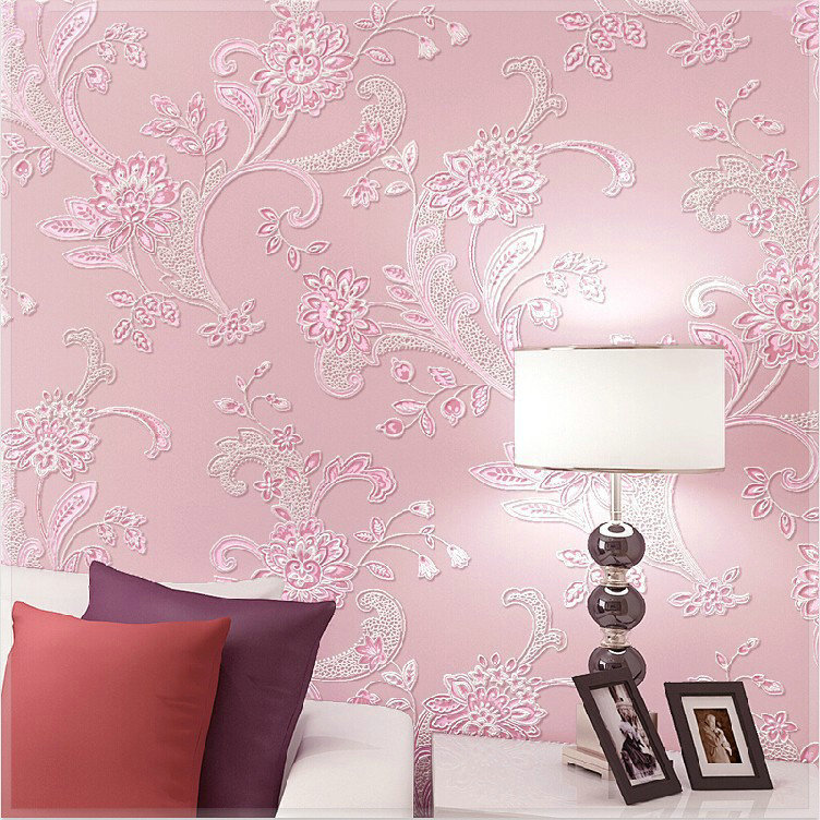Wedding Bedroom Wall Decoration : Floral wallpaper colors pastoral embossed d foaming