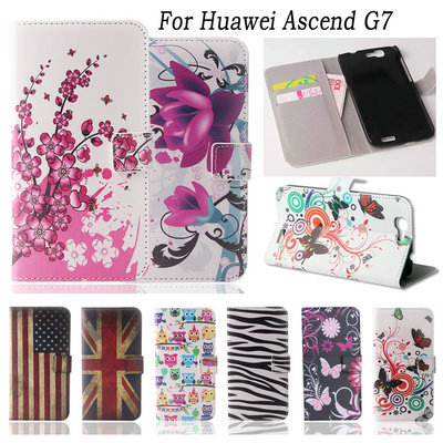 Flower Pattern Flip Stand Wallet PU Leather Cover For Huawei Ascend G7 Case Butterfly Owl Tower Pattern Fashion Protective Shell(China (Mainland))