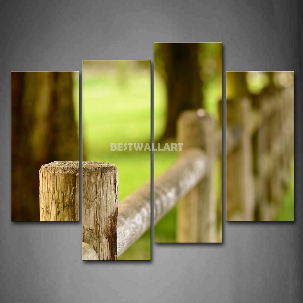 fence next to tree 4 piece painting on canvas wall art. Black Bedroom Furniture Sets. Home Design Ideas