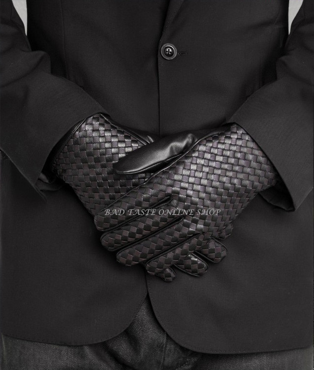 Italy Luxury Brand Designers Black Napa Lambskin Woven Gloves Chic Men's Classic Real Leather & Fleece Short Gloves Best Gift(China (Mainland))