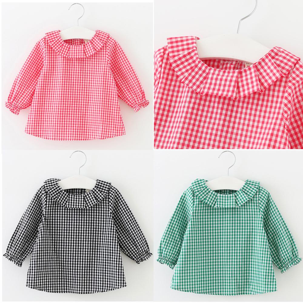 Retail New 2016 Baby Girls Clothing Lotus Leaf Collar Grid Shirt