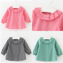 Retail New 2016 Baby Girls Clothing Lotus Leaf Collar Grid Shirt
