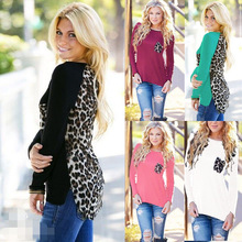 Spring and Autumn 2016 new women T-shirts Leopard stitching long-sleeved T-shirt large size women bottoming Vogue Roupas Blusas(China (Mainland))