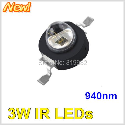 10pcs/lot LED IR Diode 3W 940nm Wavelength Black Far Emitter Chip no red storm Beads Infrared IR CCTV Camera Night Hidden LEDs(China (Mainland))