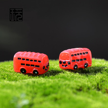 Mini Red Bus Cartoon Cute Car Plastic Craft Garden Miniatures Terrarium Figurines Doll House Decoration Baby Toys Wholesale(China (Mainland))