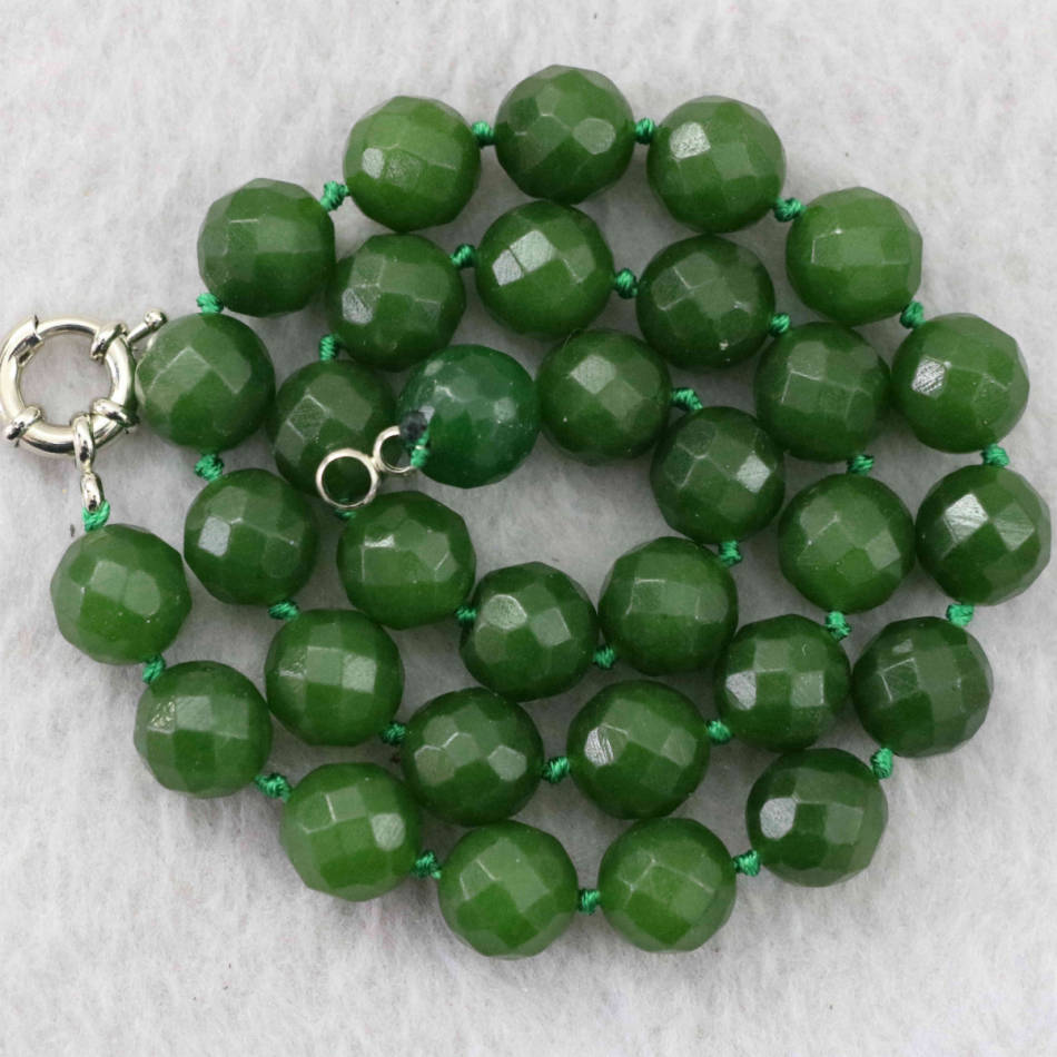 """Taiwan green topaz jasper stone 8mm 10mm 12mm faceted round making jewelry necklace 18"""" B1021(China (Mainland))"""
