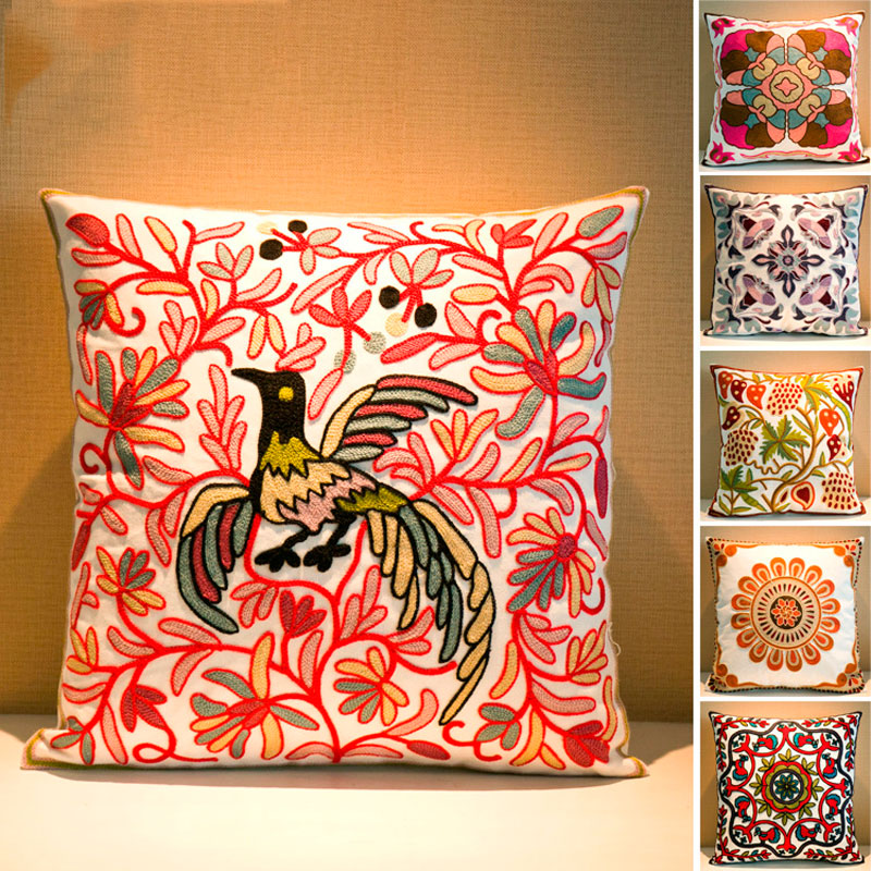 New Cotton Square Ethnic Style Pillow Cover Embroidered Decorative Pillowcase For Home Office Coffee shop U0644(China (Mainland))