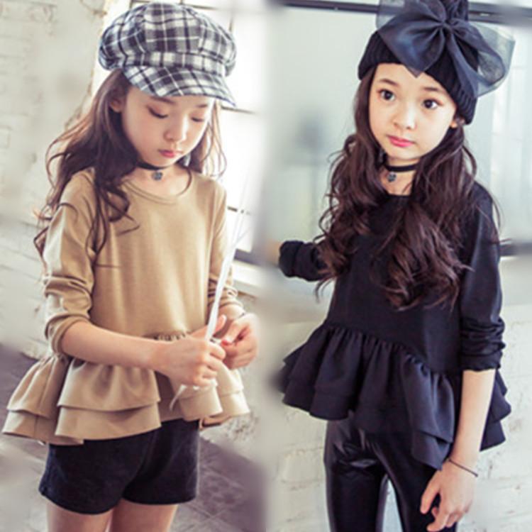 2016 girls dress long sleeve kids party dresses costume kids hello kitti disny princess costume korean children clothing T shirt(China (Mainland))