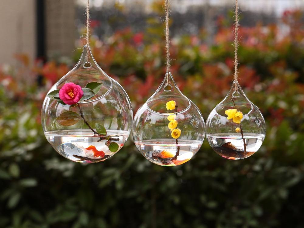 Dia12cm Hanging Glass Vase Wedding Flower Vase Decor ...