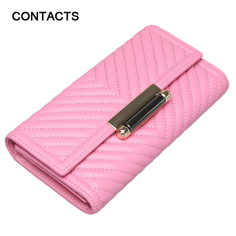 2016 New Arrival 100% Genuine Leather Lady Long Wallets Clutch Women Tri-fold Long Purses Cowhide Female Wallet With Coin Pocket(China (Mainland))