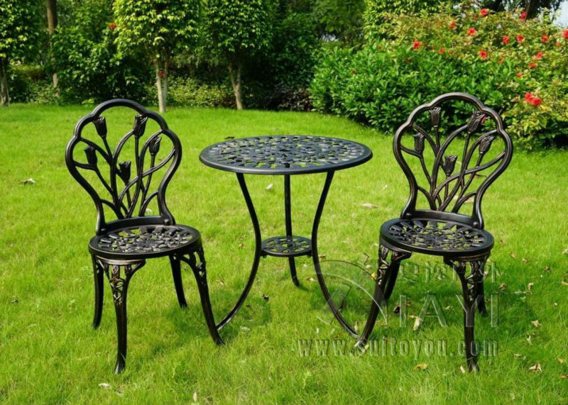 3-piece Tulip cast aluminum durable patio furniture garden furniture durable and used for years (White and Cinnamon)(China (Mainland))