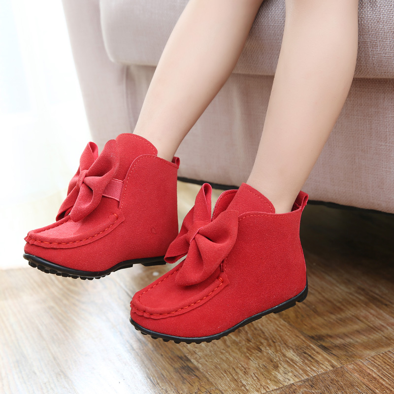High Heels For Baby Girls Direct Selling Kids Shoes Sneakers 2015 Spring Child Single Boots Female Big Bow Princess Shoes Baby(China (Mainland))
