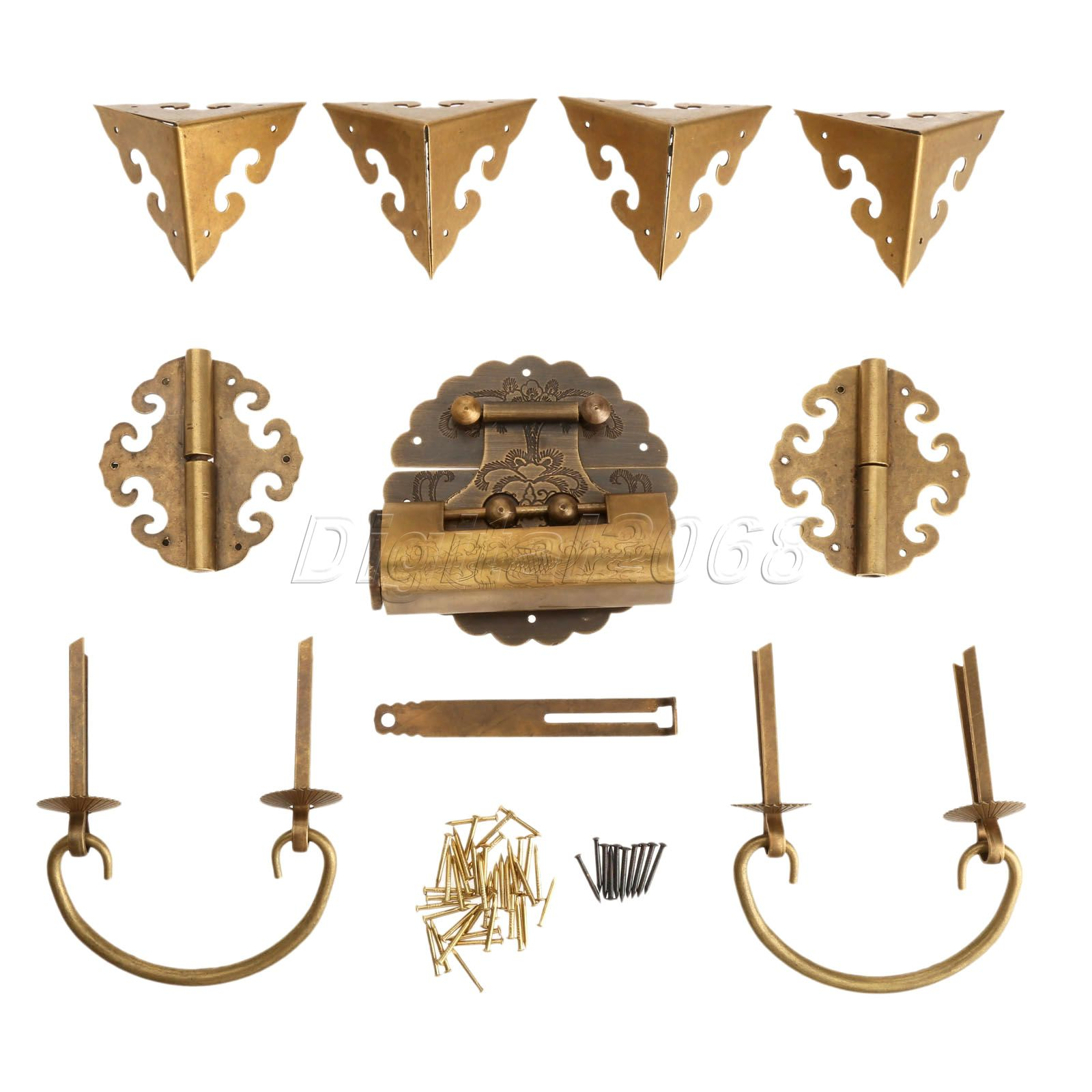 Hot Good Quality 9pcs/set Brass Chinese Furniture Hardware Chest Hinge Trunk Latch Box Handle Corner Plate with Nails(China (Mainland))