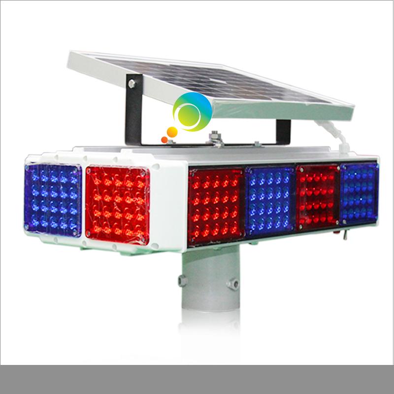 New arrival 12pcs red blue flashing module aluminum solar warning traffic light(China (Mainland))