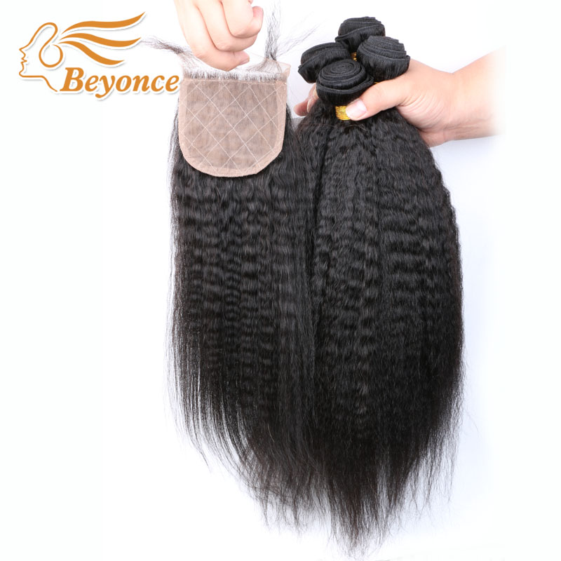 8A DHL Free Shipping Peruvian Hair Kinky Straight Weave Human Virgin Hair Coarse Yaki Cheap 4 bundles with silk closure<br><br>Aliexpress