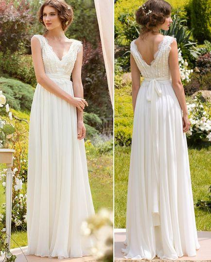 Aliexpress Buy 2016 Cheap Chiffon Boho Wedding Dresses Beach Wedding Gowns Simple V Neck