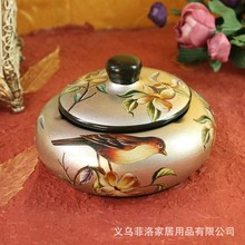 Bird retro decorative ceramic ashtray with lid Personality creative decorations Stylish home furnishing coffee table ashtray(China (Mainland))