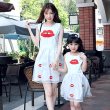 2015 summer style mother daughter dresses women girls organza white dress cute family look matching mother and daughter clothes