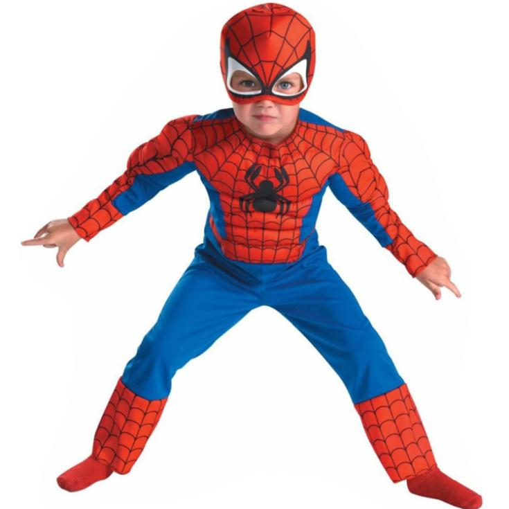 Deluxe Child Muscle Spiderman Homem Aranha Fantasy Halloween Costumes for Kids, Boy's Superhero Fantasia Carnival Fancy Dress(China (Mainland))