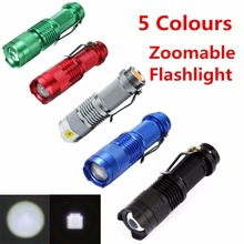 Mini Flashlight ZOOMABLE 7W CREE Q5 2000lm ZOOM Tactical AA 14500 battery Flashlight Torch Lamp(China (Mainland))