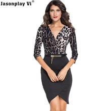 Buy Jasonplay Vi & 2017 New Fashion Sexy Office Dress Leopard Patchwork Black Slim Women Dresses Elegant Comfort Brand Vestidos DP68 for $18.90 in AliExpress store