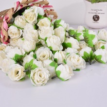 50PCs Mini Rose Flower Head Artificial Flowers Wedding Party Christmas Olympics Home Decoration Multicolor Craft Ornaments 3.6cm(China (Mainland))