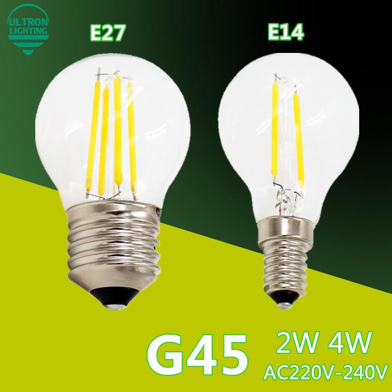 LED Bulb E27 E14 Filament Light Glass Bulb G45 220V 230V 240V 2W 4W Lampada LED Lamp Antique Retro Vintage Led Edison Lamp(China (Mainland))