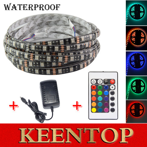 5050 LED Strip RGB DC 12V Black PCB 5M 60led/m IP65 Waterproof Flexible Tape Light +24Key Controller+12V 3A Power Adapter supply()