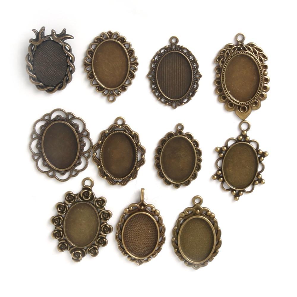 10pcs 18*25mm Mixed Design~Antique Bronze pendant Setting,alloy base setting flower cabochon resin cameo,Glass tray(China (Mainland))