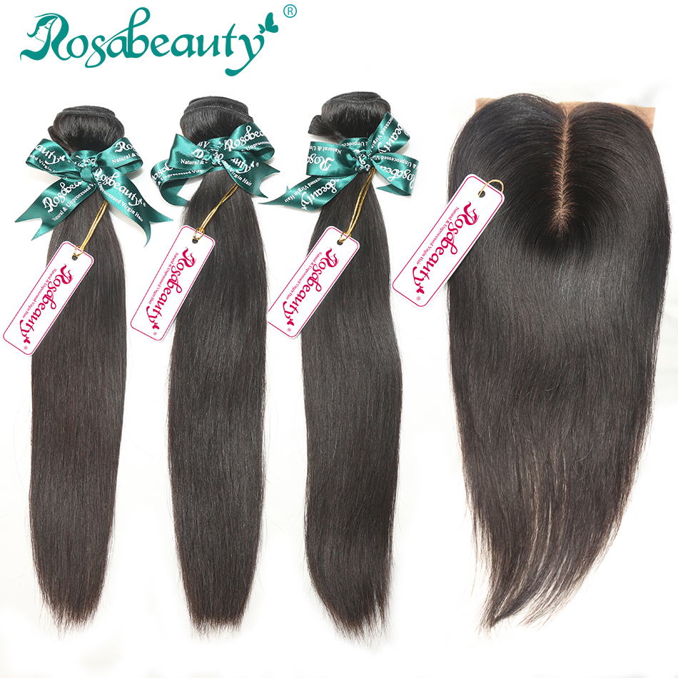 Free shipping 3 Bundle Rosa Hair Products Peruvian Virgin Hair Human Virgin Hair Natural Straight with 1Piece Silk Base Closure