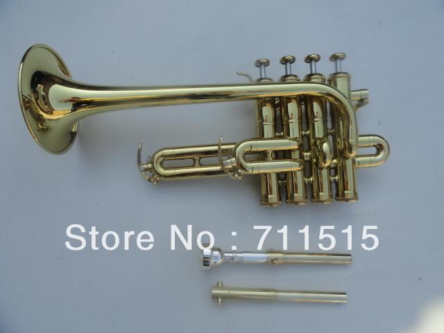 Best U.S.vincent bach trumpet Bb piccolo trumpet trompeta three tone trumpete monel piston surface brass plated(China (Mainland))