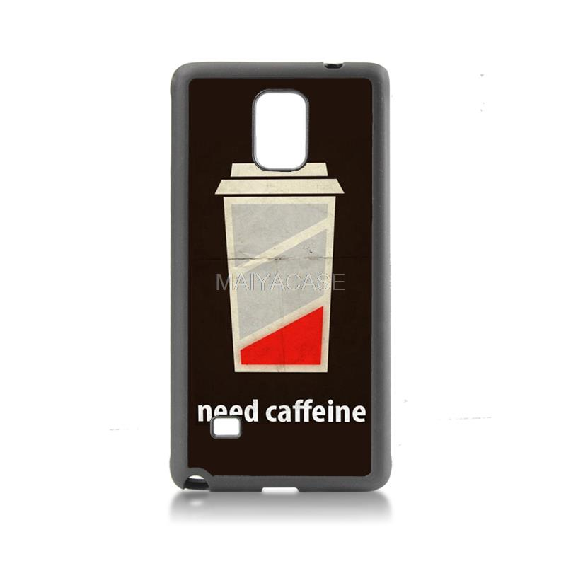 Cute tpu soft black case phone Accessories low battery need caffeine For case GALAXY note4