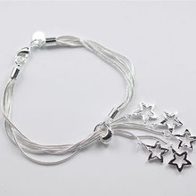 Sterling Silver 925 Jewelry 925 Sterling Silver Five Rope Chains Star Silver Cuff Bangles Bracelets H153(China (Mainland))