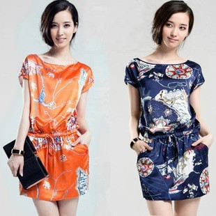 Print one-piece dress fashion plus size o-neck silk skirt short-sleeve dress