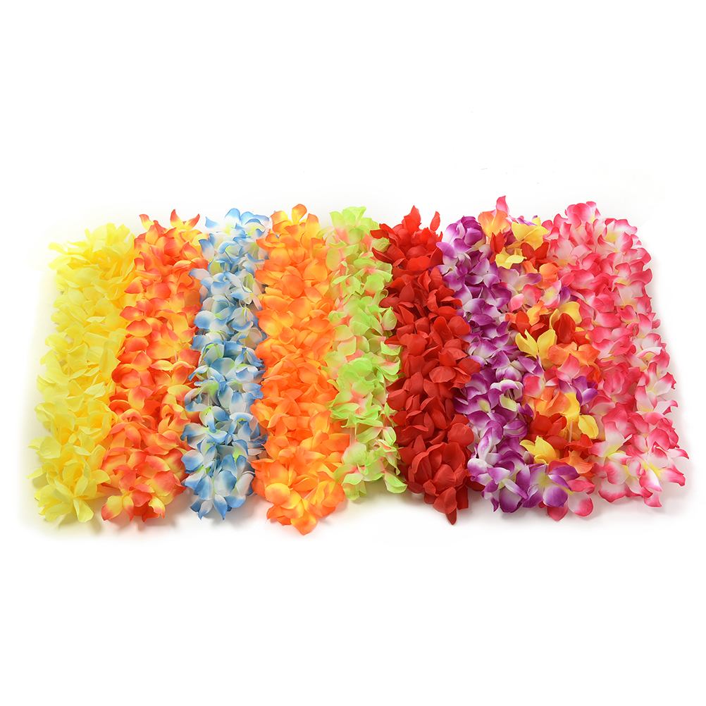 1Pcs Hot Sale Party Beach Tropical Flower Necklace Hawaiian Luau Petal Leis Festival Party Decorations Wedding Supplies(China (Mainland))